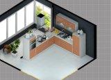 De l-vormige Hoge Glanzende Houten Keukenkasten van de Lak met de Kabinetten van de Muur