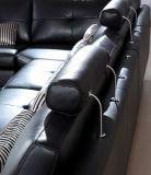イタリアの大きい角の居間の本物の黒い革Sofa H-2026