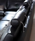 Cuero negro genuino Sofa&#160 de la sala de estar de la esquina grande italiana; H-2026