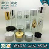 De de berijpte Kosmetische Fles van het Glas en Kruik van de Room voor de Zorg van de Huid