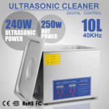 líquido de limpeza ultra-sônico de Digitas do aço 10L inoxidável com temporizador e calefator