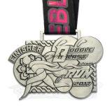 Medalla antigua barata del deporte de la acabadora de la corrida de la plata de la aduana 5.5k con la cinta