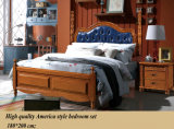 アメリカ様式の寝室セット、固体木のベッドの家具(1602年)