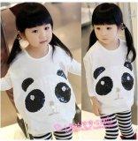 Mädchen-netter Panda Sleeved lang Strickjacke verdicktes beiläufiges T-Shirt