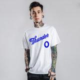 人のメッセージの白くおよび青の綿のTシャツ