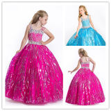 Luxe Spaghetti Crystal Sequin Taffeta Ball Girl Pageant jurk (XZ389)