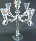 De vidro transparente suporte para velas com cinco cartazes