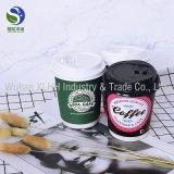 8 Oz ondulado rizado de grado alimentario de café desechables de doble pared vaso de papel