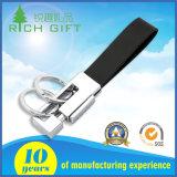 Suministro de fábrica en blanco personalizados Llavero de metal doble asa desmontable con correa de cuero