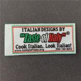 -Hace personalizado de alta densidad de corte recto etiquetas tejidas las prendas de vestir de etiqueta principal