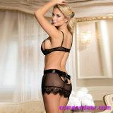 Venta de hot sexy elegante sujetador de encaje transparente Panty Set