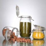 Regelmäßiger Mund-Glasmaurer-Nahrungsmittelglas mit Metallöse-Kappe