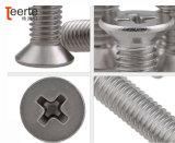 Phillips de cabeza plana de acero inoxidable el tornillo de máquina de perforación automática