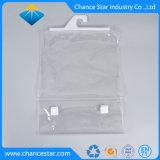 Claro PVC embalagem personalizada Zipper Hanger Saco com adesivo mágico