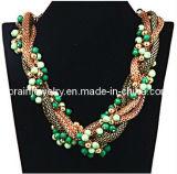 La joyería de moda de verano/ 2013 Material de aleación de zinc cobre chapado con muebles antiguos de la cadena de la Serpiente de Bronce collar con perlas de plástico acrílico verde