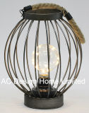 Metallo rotondo dell'annata/lampadina di legno della lanterna W/LED