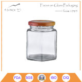 Jarra de mel de vidro quadrada com tampa de metal