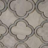 Mattonelle di mosaico di marmo bianche a forma di di Carrara del fiore per la parete