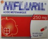 La médecine occidentale 250mg Acide méfénamique Capsules, 30pcs l'acide niflumique Capsules anti inflammatoires