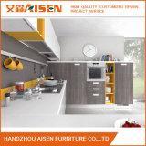 Cabina de cocina de madera de la chapa del diseño moderno