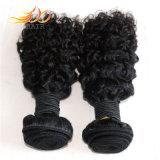 100%年にRemyの人間の毛髪のジェリーのカールの自然なビルマに毛の編むこと