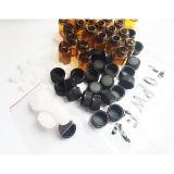 Bernsteinfarbige Glasphiole 1 ml-(1/4 D-RAM) mit Öffnungs-Reduzierstück u. schwarzer Plastikschutzkappe