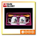 Caixa de oferta caneca de café de casais com uma colher de Qlb028