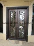 Portelli di entrata esterni fatti a mano ornamentali del ferro con la traversa