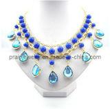 Rhinestone azul /Joyas chapado en aleación de oro Collar de perlas de cristal verde con estilo veraniego mujer parte de regalo (PN-114)
