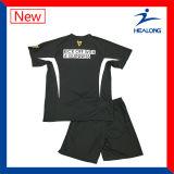 Uniformi nere delle camice del pullover di calcio della squadra del ricamo del Mens