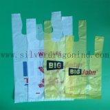 Gelbe Farben-PlastikEinkaufstasche mit der kundenspezifischen Gestaltungsarbeit gedruckt