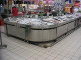 Vector del contador del soporte de visualización de los mariscos de los pescados del acero inoxidable de la venta al por menor del almacén del supermercado