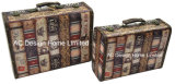 S/2 de Decoratieve Antieke Uitstekende Doos van de Koffer van de Opslag van de Druk Pu Leather/MDF van het Ontwerp van het Aantal Houten