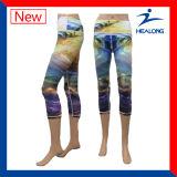Ghette variopinte delle donne di stampa di sublimazione degli abiti sportivi di disegno di Healong Personlized