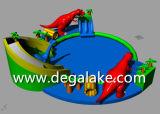 Parque inflável da água do dinossauro da venda quente o grande personalizou