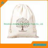 Bolsas impresas de encargo de la bolsa del lazo de la muselina del algodón