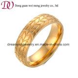 El Neumático al por Mayor del Anillo del Color del Oro Graba el Anillo de Dedo del Acero Inoxidable del Modelo