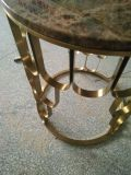 性質の大理石のコーヒーテーブルが付いているステンレス鋼フレーム