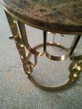 Cadre en acier inoxydable avec table basse en marbre naturel