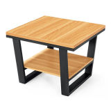 Mesa de té de oficina de madera con marco de metal