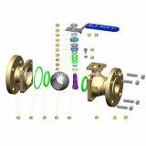 Robinet à tournant sphérique de bride DIN Pn40 2PC avec le moulage de précision