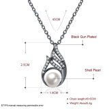 Shell moda Pearl Inset Zircon de forma de gota colgante, collar Collar de perlas para las mujeres