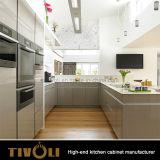 純木のベニヤの住宅のアパートオーストラリアのための白く光沢度の高い食器棚