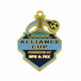 Médaille de soccer de cuivre de souvenirs avec cordon pour la vente Emoji trousseau