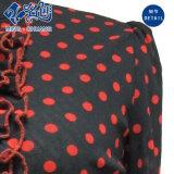 Blusa delgada de las señoras de la manera del soporte de collar del cordón Gris-Rojo del botón