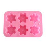 El molde material de la torta del silicón de la categoría alimenticia del certificado del FDA, copo de nieve formó el molde de la torta del silicón