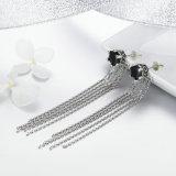 Oorringen van de Leeswijzer van CZ van de Juwelen van Femme de Uitstekende 925 Echte Zilveren Tweezijdige Zwarte