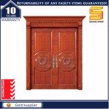 Composto de exterior de madeira de teca sólida porta de entrada principal do painel duplo