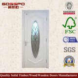 Porta de sala de madeira de vidro temperado de vidro branco com vidro temperado (GSP3-047)