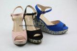 Ботинки женщин клина сандалии способа пальца ноги щели на лето